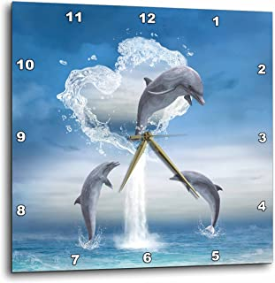 3dRose A Dolphin Jumps Out of A Water Heart Into The Ocean - Wall Clock, 10 by 10-Inch (DPP_172929_1)