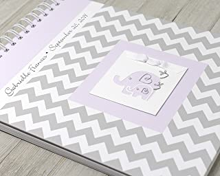 Baby Girl Memory Book (15 Center Designs) - Personalized Hard Cover First Year Album - Gray Chevron & Lavender