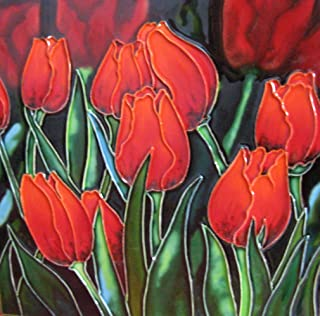 Continental Art Center 8x8 Art Tile-Eight red Tulips