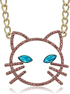 Betsey Johnson Women's Pink Stone Open Cat Face Pendant Necklace, One Size