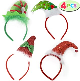 Pack of 4 Christmas Headbands with 4 3D Hat Designs for Christmas and Holiday Parties (ONE SIZE FIT ALL)