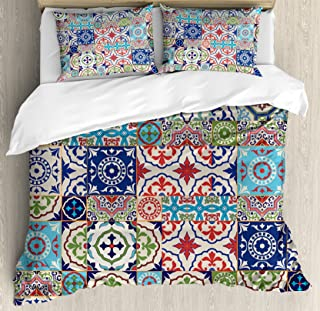 Ambesonne Moroccan Duvet Cover Set King Size, Patchwork Pattern from Colorful Moroccan Tiles Traditional Illustration, Decorative 3 Piece Bedding Set with 2 Pillow Shams, Navy Blue Dark Orange
