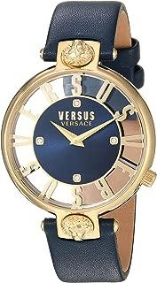 Versus by Versace Women's KRISTENHOF Quartz Watch with Leather Calfskin Strap, Blue, 106 (Model: VSP490218)
