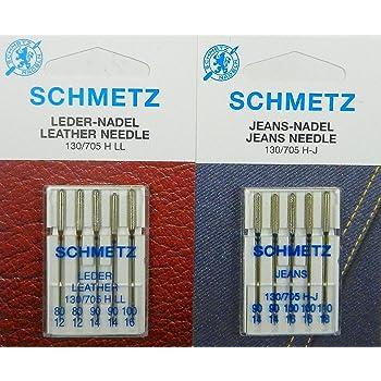 Schetz 130/705 - Juego de agujas para máquina de coser (cuero y ...