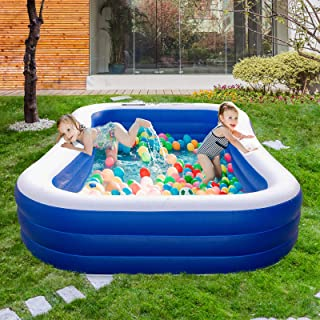 """Inflatable Swimming Pools for Kids and Adults,120"""" X 72"""" X 20"""" Family Blow Up Pool for Kiddie,Adult, Infant, Toddlers for ..."""