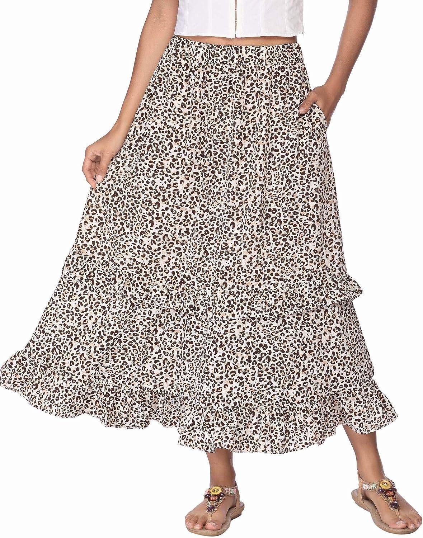 Zeagoo Long Skirt for Women Floral Midi Skirt Maxi Elastic Waist Skirts with Pocket Peasant Skirt Hight Waist Ruffle Skirt