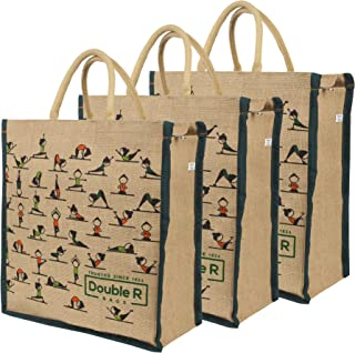 DOUBLE R BAGS Big Eco Reusable Yoga Print Jute Cloth Carry Lunch Tiffin Box with Bottle Organizer Small Size with Zip Rein...