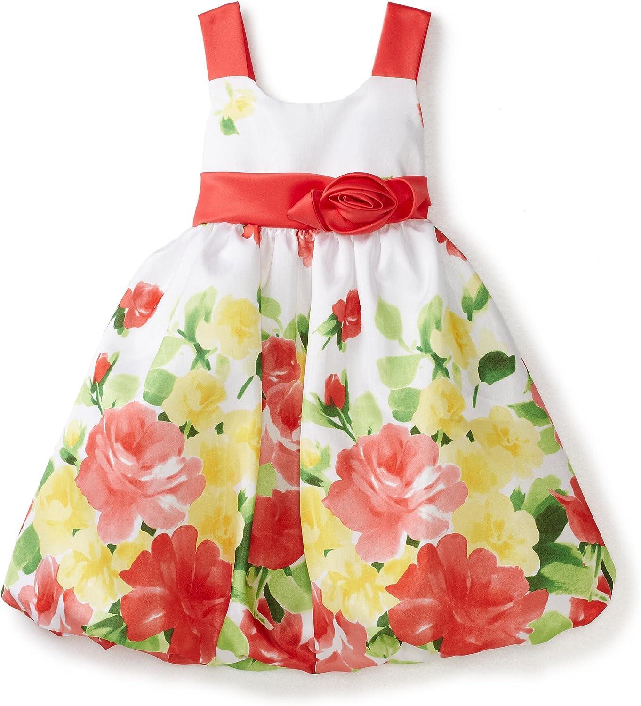 Bonnie Jean Little Girls' Floral Print Shantung Bubble