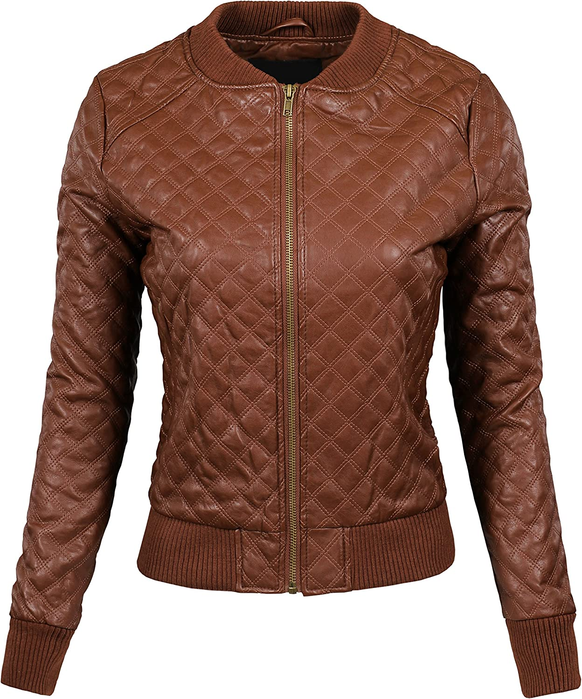 KOOLDO Womens Quilted Stitch Faux Leather Moto Varsity Bomber Zip Up Jacket