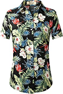 Women's Floral Short Sleeve Cotton Button Down Hawaiian Shirts