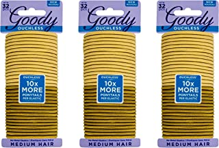 Goody Hair Ouchless Women's Braided Hair Elastics, Blondes, 4MM for Medium Hair,32 Count (Pack of 3),96 Count Total