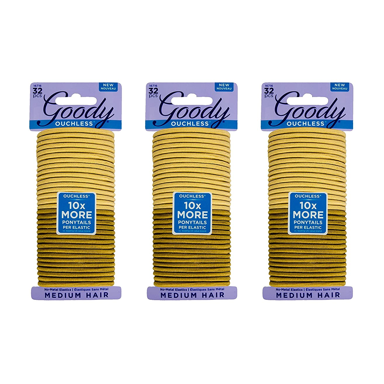 Goody Ouchless Women's Braided Elastics, Blondes, (96 CT Total/ Pack of 3) 4MM for Medium Hair