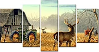 Canvas Print Wall Art Painting -5 sets pictures of Nature Trees Fences Birds Fog Mist Deer Barn Farm Competition Paintings - The Picture For Living Room Decoration City Pictures Photo Prints On Canvas