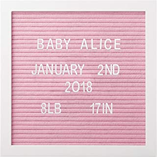 """Pearhead 10"""" x 10"""" Felt Letterboard, Perfect Message Board for Sharing Back to School Milestones or Baby Announcements, Pink"""