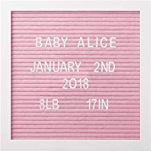 "Pearhead 10"" x 10"" Pink Felt Letterboard Set, Includes 292 White Letters, Perfect Message Board for Home or Nursery, or use for Baby Announcement"