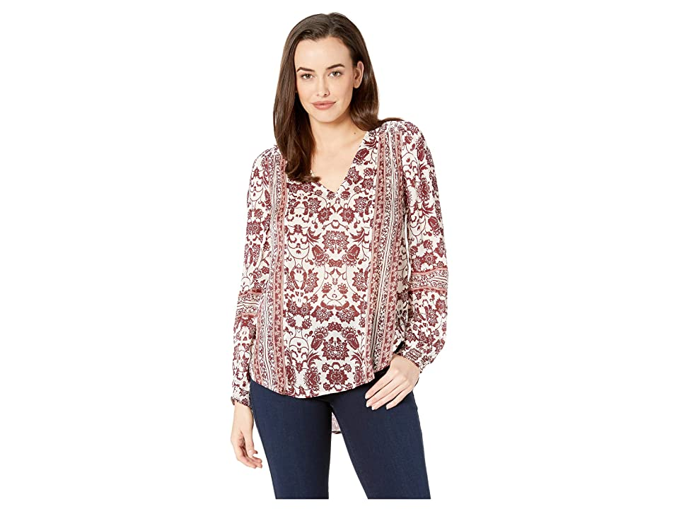 Lucky Brand Border Print Peasant Top (Multi) Women's Long Sleeve Pullover