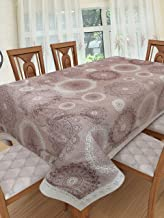 Clasiko 6 Seater PVC Table Cover; Brown Base with White Brown Traditional Design; 60x90 Inches; 6 Seater
