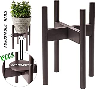 Bronze Wood Plant Stands Mid Century Modern Planter Holder Indoor Outdoor -with Flower Pot Coaster - Adjustable Width 8-12 Inches - Heavy Duty Bamboo -By ZPirates