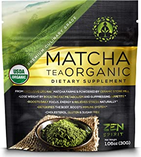 Matcha Green Tea Powder Organic - Japanese Premium Culinary Grade, Unsweetened & Sugar Free - USDA & Vegan Certified - 30g (1.06 oz) - Perfect for Baking, Smoothies, Latte, Iced tea & Weight Loss. â ¦