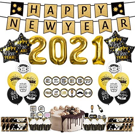 Hats /& More BRING ON 2021 Kit for 10 New Years Eve Party Supplies BURN 2020