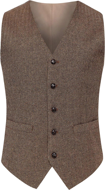 Airtailors Max 60% OFF Men's Wool Herringbone Tweed Vintage Wedding Bro Vest Ranking TOP2
