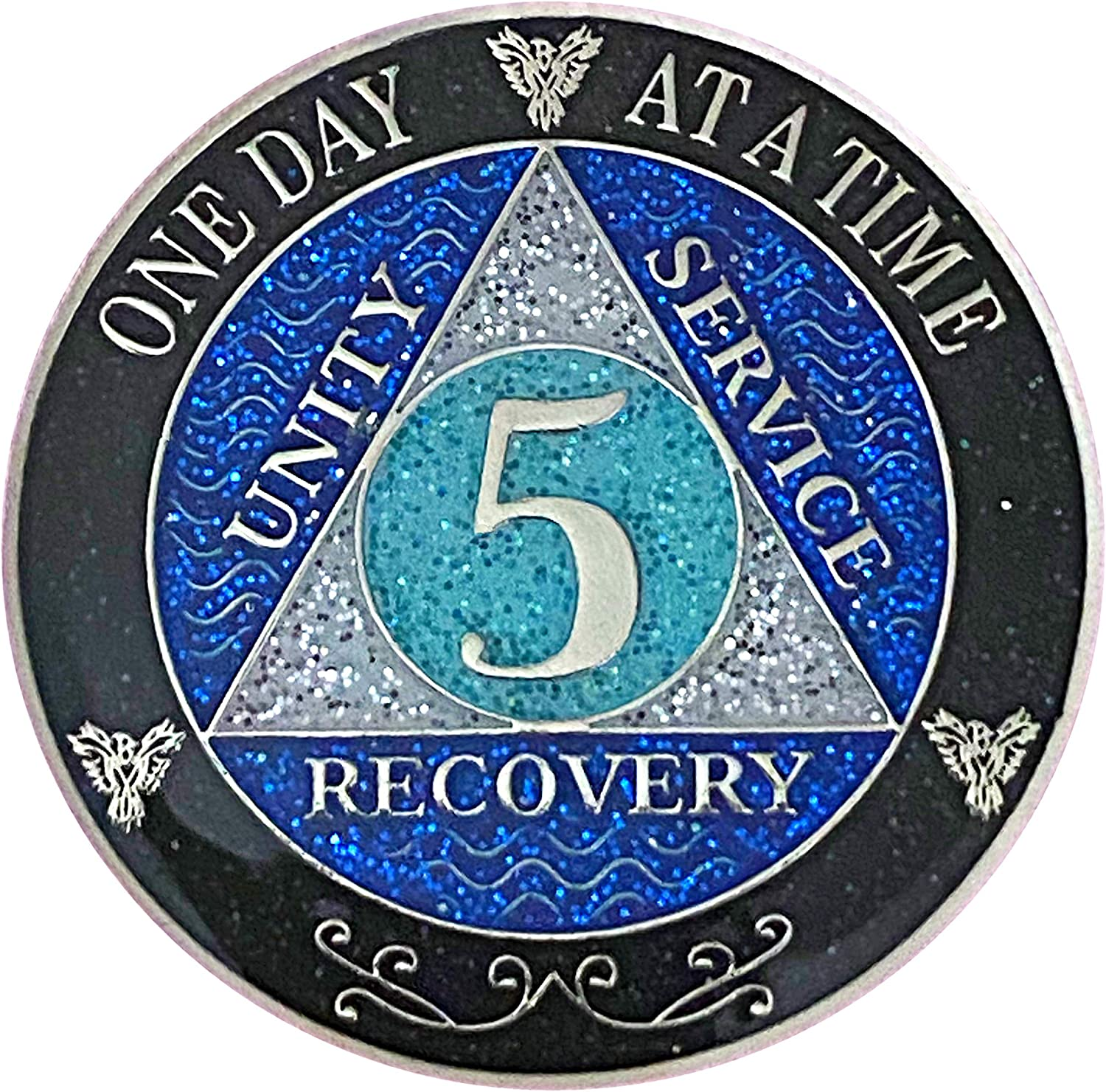 5 Year AA Recovery Silver Medallion Color Glitter Atlanta Mall Black Deluxe Plated