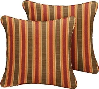 1101Design Sunbrella Dimone Sequoia Corded Decorative Indoor/Outdoor Square Throw Pillow, Perfect for Patio Decor - Autumn Stripe 16