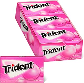 Trident Bubblegum Sugar Free Gum, Made with Xylitol, 12 Packs of 14 Pieces (168 Total Pieces)