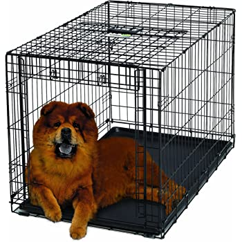 "Ovation Folding Dog Crate | Dog Crate Features Space-Saving Overhead ""Garage"" Style Door & Comes Fully Equipped w/ Replacement Tray, Divider Panel & Floor Protecting Roller Feet"