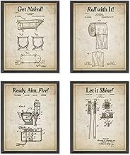 Bathroom Patent Wall Art Prints with Slogans, Set of 4, Unframed, Vintage Toilet Photos,..