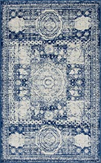 Unique Loom Bromley Collection Vintage Traditional Medallion Border Navy Blue Area Rug (5' 0 x 8' 0)