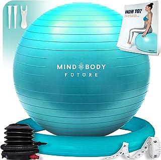 Mind Body Future Pelota Suiza o Gym Ball Bola para Pilates, Yoga, Fitness, Embarazo y Sentarse. Balón Robusto, Antideslizante y Hipoalergénico. Fitball 55, 65 o 75 cm con Base y Bomba.