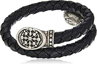 Alex and Ani Men's Braided Leather Wrap Bracelet, Compass, Rafaelian Silver, Expandable
