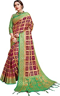 Sarees for Women Banarasi Patola Art Silk Woven Saree l Indian Ethnic Wedding Gift Sari with Unstitched Blouse