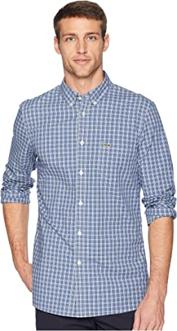 Long Sleeve Slim Fit Checkered Stretch Poplin