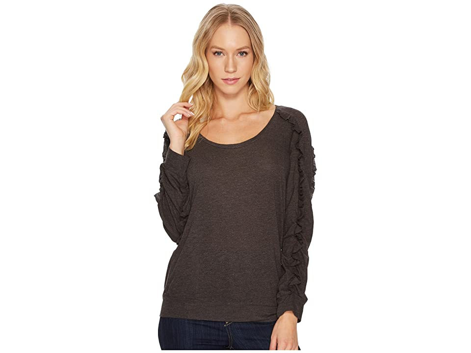 Lanston Ruffle Long Sleeve Pullover Top (Otter) Women's Long Sleeve Pullover