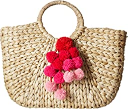 Hat Attack - Round Handle Tote w/ Ombre Pom Poms