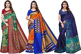 Ishin Combo Of 3 Poly Silk Multicolor Printed Women's Saree