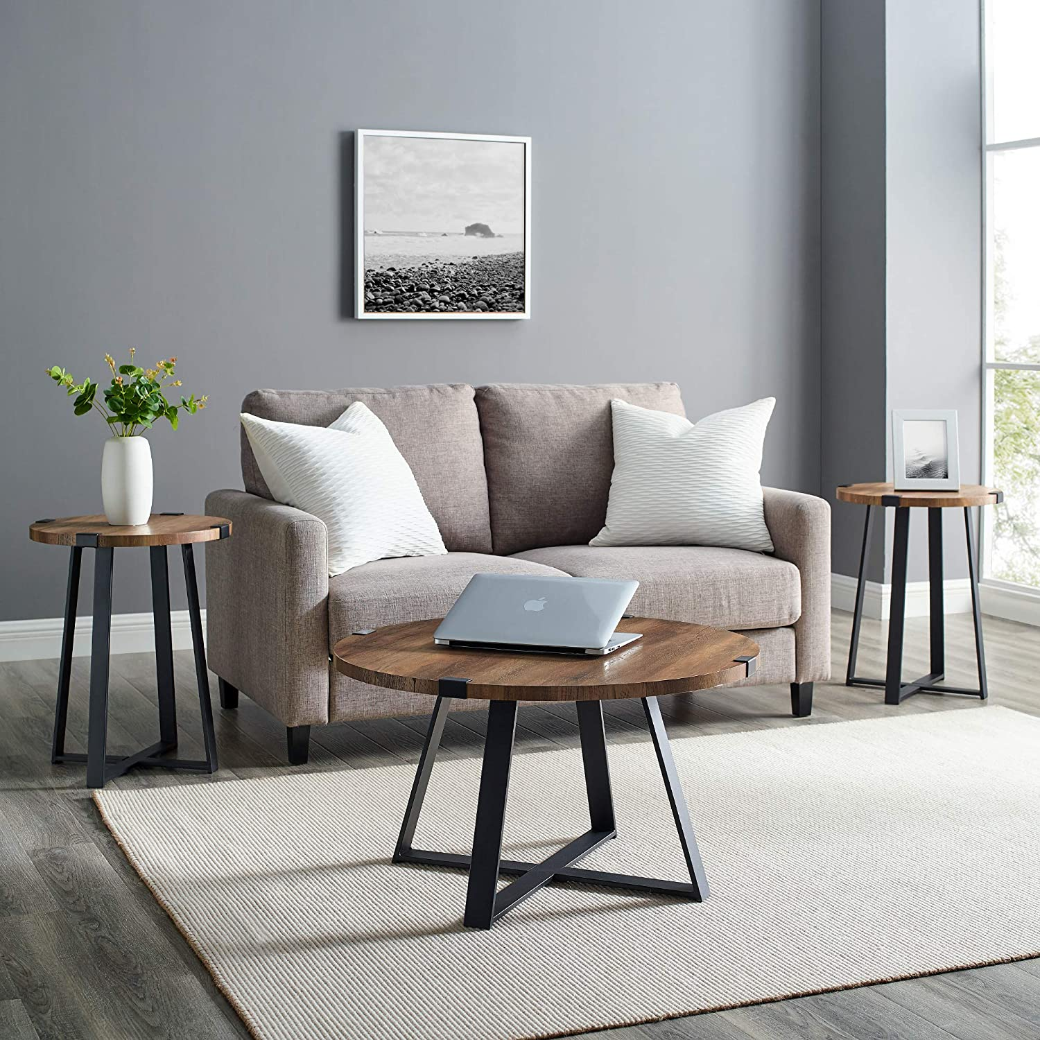 Walker Edison Anastasia Modern 3 Piece Popular shop is Outlet sale feature the lowest price challenge X Wrap Base Coffee Metal