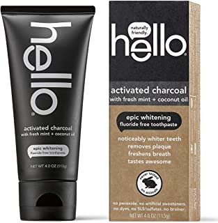 Hello Oral Care Activated Charcoal Teeth Whitening Fluoride Free and SLS Free Toothpaste, 4 Ounce
