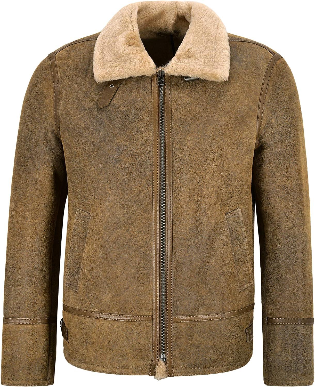 Men's B3 Sheepskin Bomber RAF Antique Beige Fur Shearling Leather Jacket Harbin