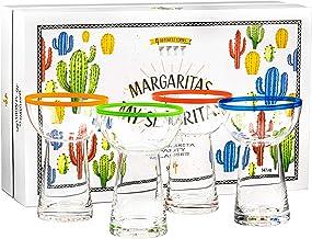 Premium Large Margarita Glasses | 4 Heavy Duty, Thick, 14.5 oz Glasses Gift Set | Non-Wobble Shape, Colored Rim for Easy I...
