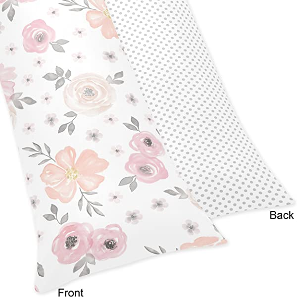 Sweet Jojo Designs Blush Pink Grey And White Body Pillow Case Cover For Watercolor Floral Collection Pillow Not Included
