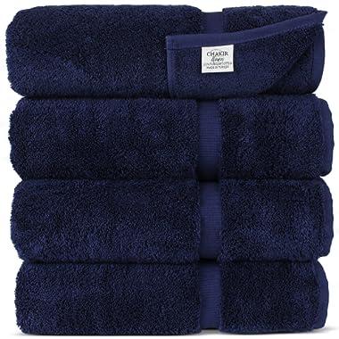 Chakir Turkish Linens Turkish Cotton Luxury Hotel & Spa Bath Towel, Bath Towel - Set of 4, Navy Blue