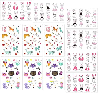 Temporary Tattoos for Girls Kids Women(180pcs), Konsait Cute Kitty Cat Tattoos Waterproof Body Art Sticker Great Birthday Party Favors Kids Party Accessories Goodie Bag Stuffers Party Fillers Gift