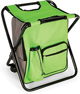 Camco Folding Camping Stool Backpack Cooler Trio- Camping /Hiking Bag with Waterproof Insulated Cooler Pockets and Sturdy Legs for Seating, Great For Travel- Green (51909)