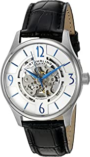 Stuhrling Original Men's 'Legacy' Automatic Stainless Steel and Black Leather Dress Watch (Model: 557.01)