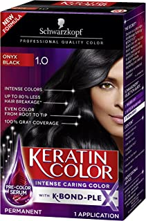 Schwarzkopf Keratin Color Permanent Hair Color Cream, 1.0 Black Onyx (Packaging May Vary), Pack of 1