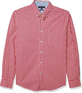 Tommy Hilfiger Men's Long Sleeve Button Down Shirt in Classic Fit, Apple Red, XX-Large
