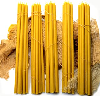 50-Pack Pure Natural Honey Scented Beeswax Candles, eco-Friendly Wax tapers for Everyday use, 12 inches Beeswax Candles wi...
